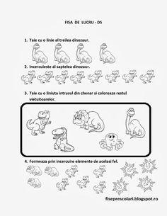 FISE de lucru cu DINOZAURI -DS - Matematica | Fise de lucru - gradinita Dinosaur Activities, Kindergarten, Bullet Journal, Kids, David, Homeschooling, Decor, Dinosaurs, Simple Lines