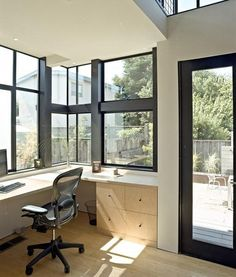This is the office I want, it's so bright and cheery. I love the windows because I like to have a view while I'm on the computer. With plenty of storage cabinets behind and on the other side...  space saving ideas and furniture placement for small home office design