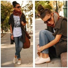 jeans, cardigan and oxfords casual outfit Estilo Fashion, Look Fashion, Girl Fashion, Womens Fashion, Street Fashion, Fashion Shoes, Fashion Models, Looks Style, Looks Cool