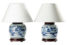 Antique Ginger Jar Lamps, Pair on OneKingsLane.com Antique Table Lamps, Table Lamp Wood, Ceramic Table Lamps, Ginger Jar Lamp, Ginger Jars, Blue And White Lamp, Colorful Lamp Shades, Lamps For Sale, Hurricane Lamps