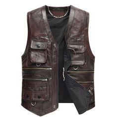 $173.6 Leather Vest Men The New Cow Leather Jacket Motorcycle Outerwear Retro Vintage Biker Vest