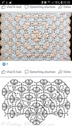 Crochet Square Patterns, Crochet Diagram, Crochet Stitches Patterns, Crochet Chart, Crochet Squares, Crochet Motif, Crochet Designs, Crochet Doilies, Crochet Wool
