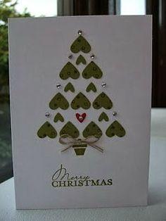 Namorada Criativa: Cartão romântico - Árvore de natal de corações