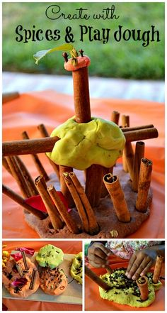 Invitation to play and create with spices and fall spices play dough from Blog Me MOm