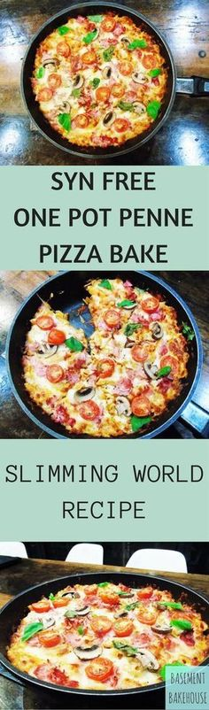 Slimming Syn - Free - One - Pot - Penne - Pizza - Bake - Pasta - Slimming - World - A totally syn free one pot pasta with pizza toppings! Slimming World Pizza, Slimming World Fakeaway, Slimming World Dinners, Slimming World Recipes Syn Free, Slimming Eats, Slimming World Baked Oats, Actifry Recipes Slimming World, Slimming World Taster Ideas, Aldi Slimming World Syns