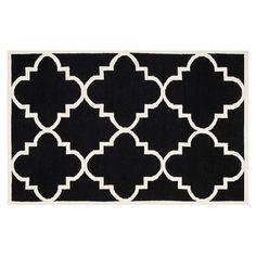 Safavieh Dhurries Quatrefoil Handwoven Flatweave Wool Rug, Black