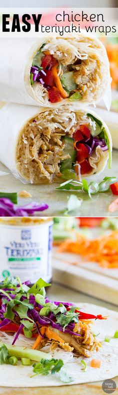 Dinner doesn't get easier than these Easy Chicken Teriyaki Wraps! Conquer those busy nights with an easy, good for you weeknight dinner that is done in no time flat. In partnership with Soy Vay. #OKSoyVay