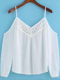 To find out about the White Spaghetti Strap Lace Loose Top at SHEIN, part of our latest Blouses ready to shop online today! Loose Tops, T 4, Hijab Fashion, Casual Looks, Spring Outfits, New Look, Camisole Top, Cute Outfits, Tank Tops
