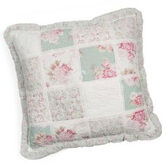 CAMELIA cotton cushion in green and pink 60 x 60cm | Maisons du Monde