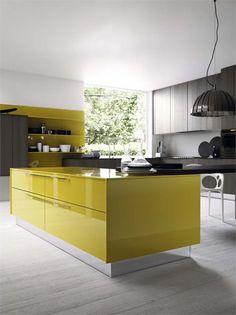 design küche kochinsel tischplatte farbschema gelb grau trendig