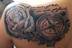 white rose with compass....
