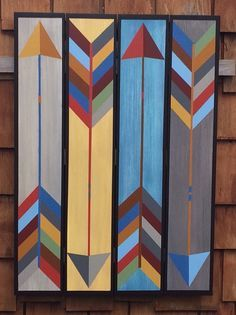 Barn Quilt Patterns Free Archer Barn Quilt Barn Quilts By Chela Barn Quilt Designs, Barn Quilt Patterns, Patchwork Patterns, Quilting Designs, Star Quilts, Quilt Blocks, Southwestern Quilts, Painted Barn Quilts, Barn Signs