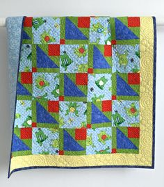 Patchwork Baby Quilt Featuring Whimical by KimsQuiltingStudio