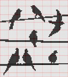 Birds on a wire x-stitch