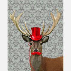 Deer In Red Hat//