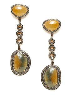 Freeform Yellow Sapphire & Diamond Open Circle Linear Earrings by Amrapali on Gilt.com