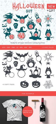 Circle Monogram Halloween Frame SVG Frame Cutable Files Silhouette Studio Cricut Vinyl Cutter Heat Press Transfer Frame svg