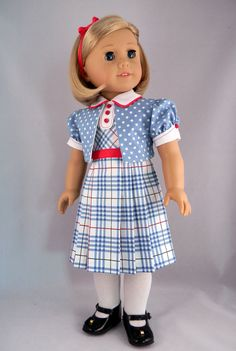 "1930's Shirley Temple dress and bolero jacket for 18"" American Girl doll - by BringingJoy"