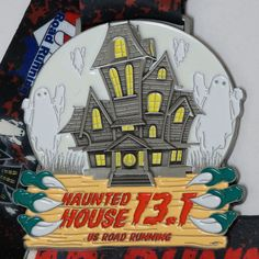 This 3.5 inch medal glows in the dark! $16.99 - Haunted House Virtual 5K, 10K, 13.1 https://usroadrunning.com/Event.php?EventID=2116  Run/Walk at any location you want. You can use the treadmill, run outside, your own course, another race, or get your running group together. You can run the event any day, any time, or any place you want. For more events go to USRoadRunning.com.