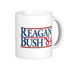 Reagan Bush 84 1984 vintage retro campaign Coffee Mugs