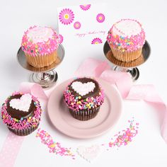Love You Mom! Jumbo Cupcakes - Assorted 4-Pack, Delicious Red Velvet, Chocolate Crumb w/ filling, Confetti and Carrot come together in perfect harmony.