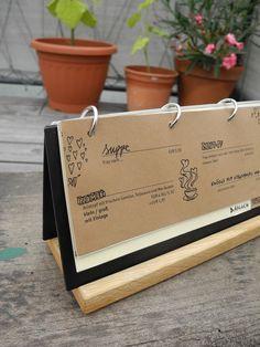 Die Scherbe – Redesign by Gernot Passath, via Behance Decoration Restaurant, Restaurant Menu Design, Cookbook Design, Food Menu Design, Jacks Menu, Wood Menu, Coffee Shop Aesthetic, Plaque Design, Small Coffee Shop