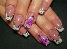 Black N White French Floral Nail Art