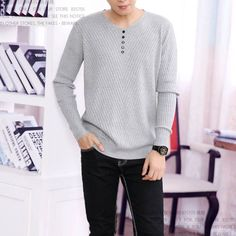 V-neck Buttons 2016 New Fashion Stitch Men's Wool Sweater Fine Wool Pullovers Knitwear Shirt Sweater Designer Male #163310