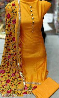 Cotton Dress material: Free COD, Catalog Name:*Trendy Women's Suits & Dress Materials* Top Fabric: Cotton +. Womens Dress Suits, Suits For Women, Clothes For Women, Ladies Suits, Silk Suit, Cotton Suit, Embroidery Suits Punjabi, Maggam Work Designs, Indian Designer Wear