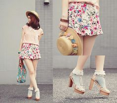 Pink with floral (by Shan  Shan) http://lookbook.nu/look/3797589-pink-with-floral
