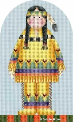 Melissa Shirley Designs | Hand Painted Needlepoint Thanksgiving Indian