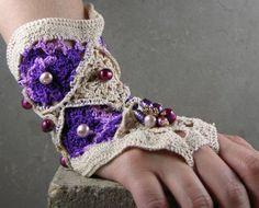 arm cuff ecru purple pearls crocheted goth bridal ooak bracer victorian romantic, steampunk spring autumn fall tbteam therougett