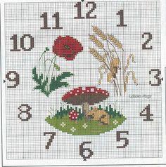 wanna make diy clock? Learn Embroidery, Cross Stitch Embroidery, Embroidery Patterns, Cross Stitch Charts, Cross Stitch Patterns, Butterfly Cross Stitch, Diy Clock, Stitch 2, Le Point