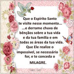 Flores e frases: QUE O ESPIRITO SANTO TE VISITE NESSE MOMENTO...