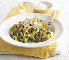 Tagliatelle with Lemon Spinach Sauce