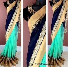 Net Sari Dresses with Velvet Designer Blouse