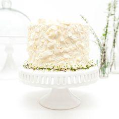 Vanilla Funfetti Cake with Coconut Flakes Recipe. And a Gold heart balloon cake topper!