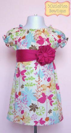 Peasant dress girls dress floral dress by 3cutiepiesbowtique, $44.00