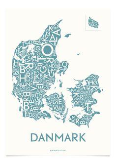 DANMARK MED BYER - STÅLBLÅ - 40x55 CM