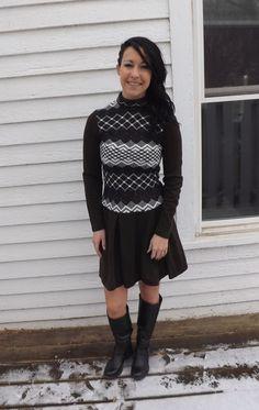 Vintage 70s Brown Knit Dress Mod Black White Print by soulrust