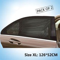 2017 new 2x Car Rear Window UV Mesh Sun Shades Blind Kids Children Sunshade Blocker Black adjustable car-styling Foils Solar