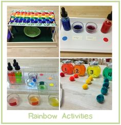 Lots of great rainbow activities including fine motor practice, color mixing, counting, and more