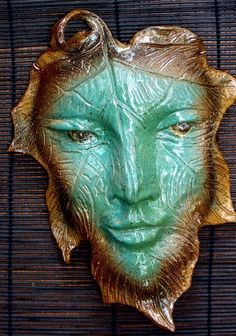 Pottery Leaf Face/ Wall Art Hanging by edMUDson on Etsy