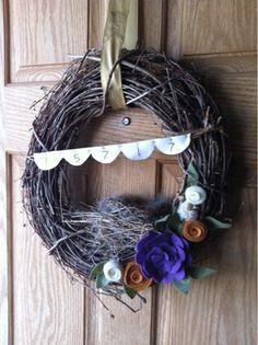 Real Birds Nest, Felt Bunting, and Felt Flower Wreath