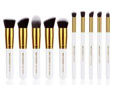 Professional 10pcs White/gold Foundation Blush Liquid Brush Kabuki Makeup Brushes Tools Set