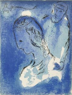 """Marc Chagall """"Abraham and Sarah""""  The Hebrew name Sarah indicates a woman of high rank and is translated as """"princess."""""""