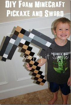 DIY-Foam-Minecraft-Pickaxe-and-Sword
