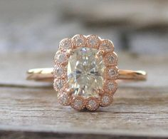 Cushion Cut Moissanite Diamond Engagement Ring in by Studio1040
