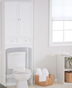 Small Bathroom Space Saver Over Toilet Over The Toilet Cabinet, Over Toilet, Small Toilet, Laundry Cabinets, Bathroom Cabinets, Bathroom Furniture, Bathroom Interior, Interior Paint, Interior Ideas