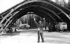 A Swedish Air Force SAAB JA 37 Viggen taxiing into a road base somewhere in Sweden.....
